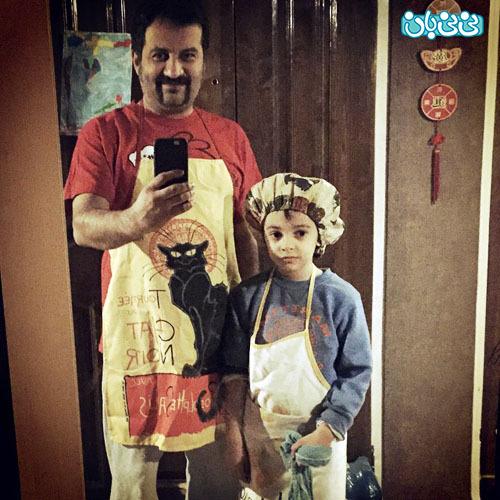 عکس مهراب قاسم خانی، لذت آشپزی با بچه ها