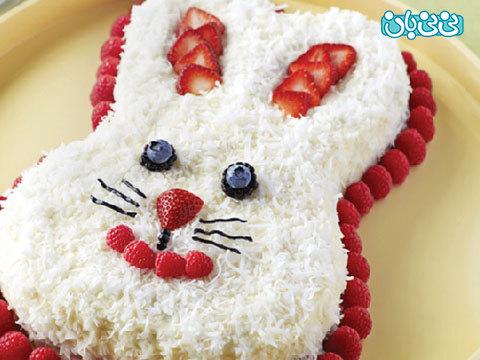 تزیین کیک تولد به شکل خرگوش