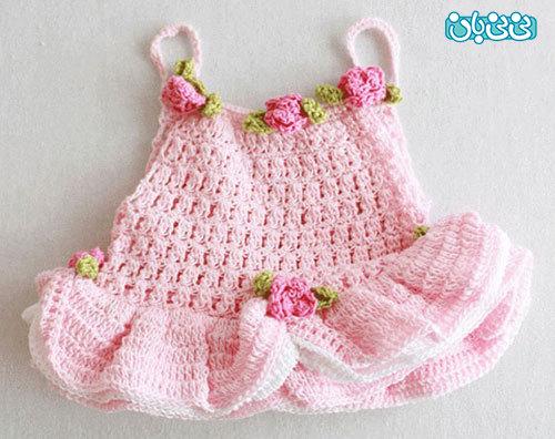 آموزش بافتنی، پیراهن دخترانه نوزادی آموزش بافت لباس دخترانه ، پیراهن نوزادی زیبا