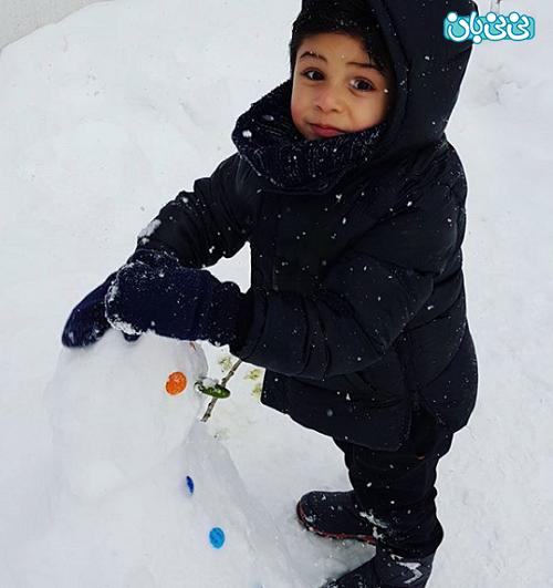 اینستاگرام احسان خواجه امیری، شادی خانوادگی در برف
