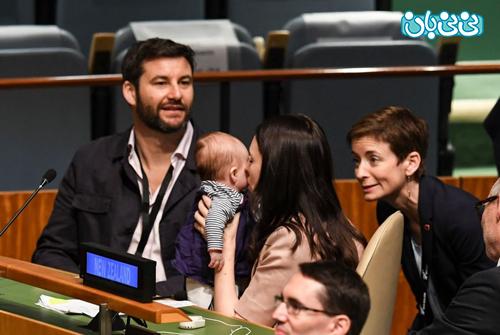 نخست وزیر نیوزلند، همراه نوزادش در سازمان ملل