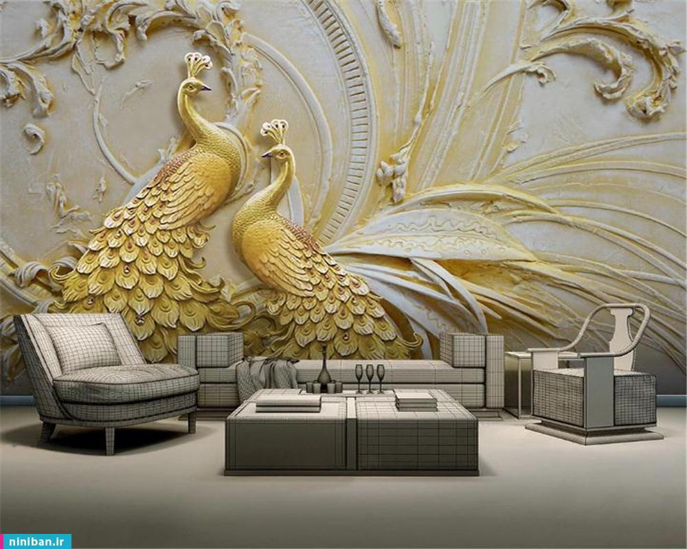 پوستر سه بعدی طرح طاووس