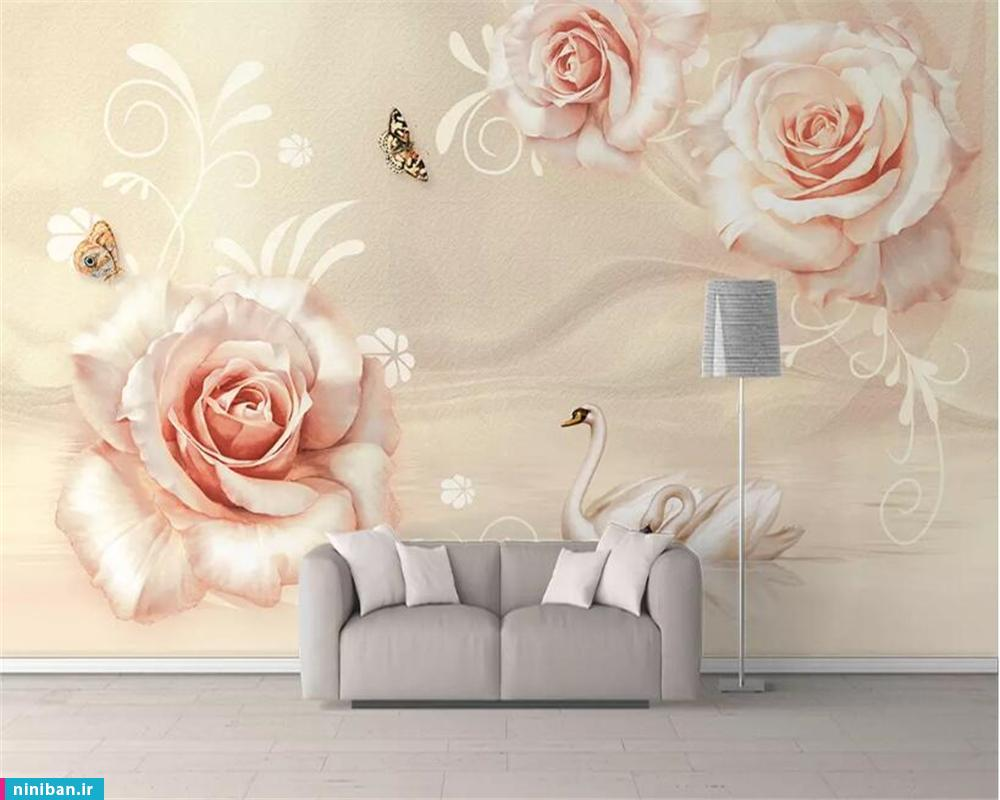 پوستر سه بعدی طرح گل و پروانه