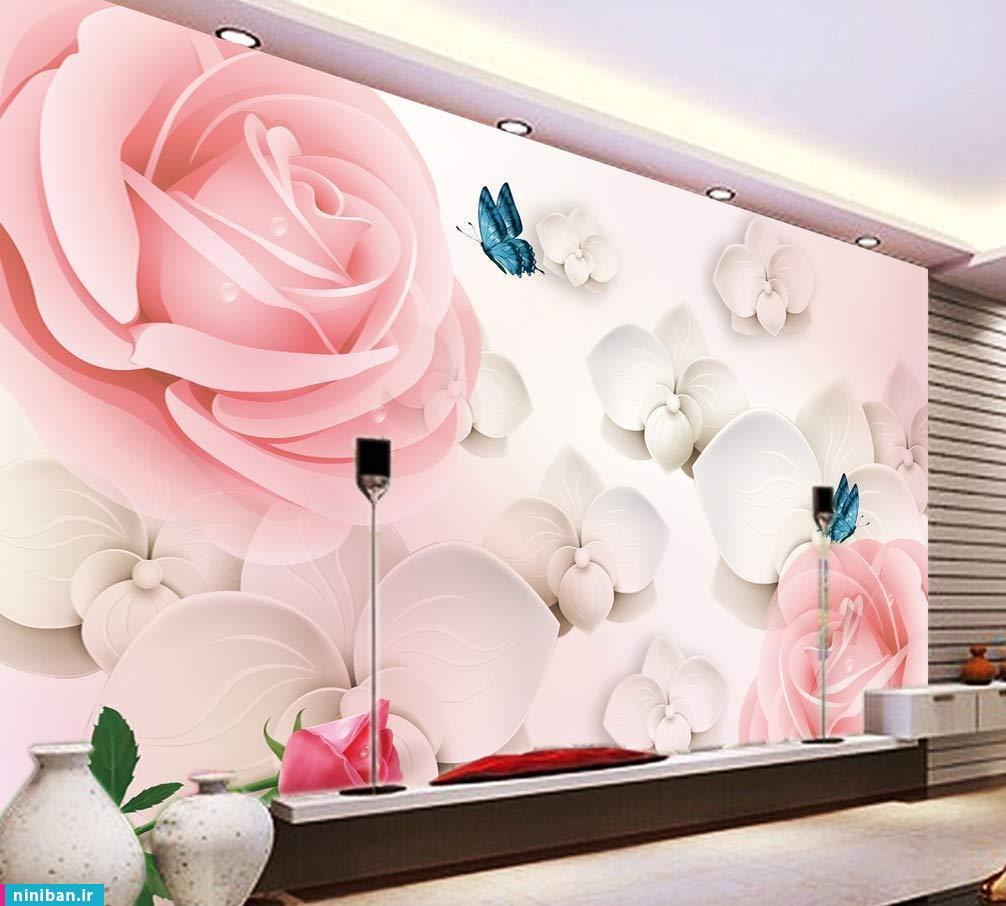 پوستر سه بعدی گل و پروانه