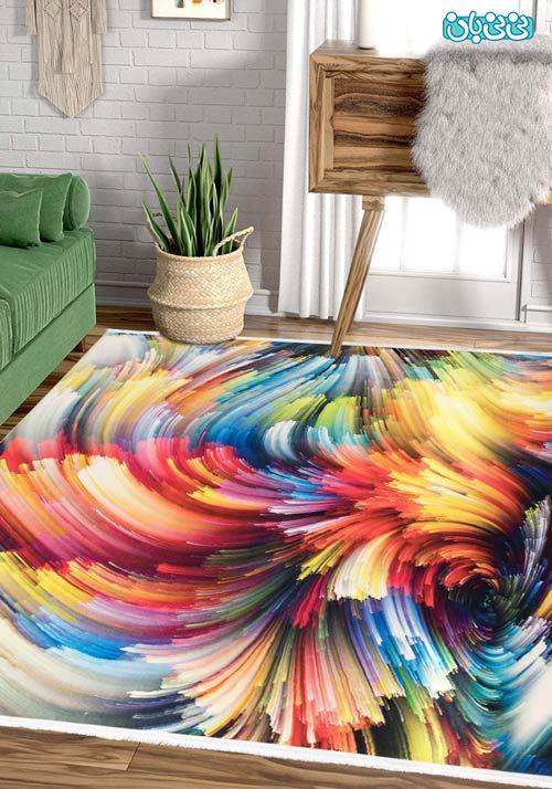 فرش فانتزی طرح آبرنگی مناسب سالن پذیرایی